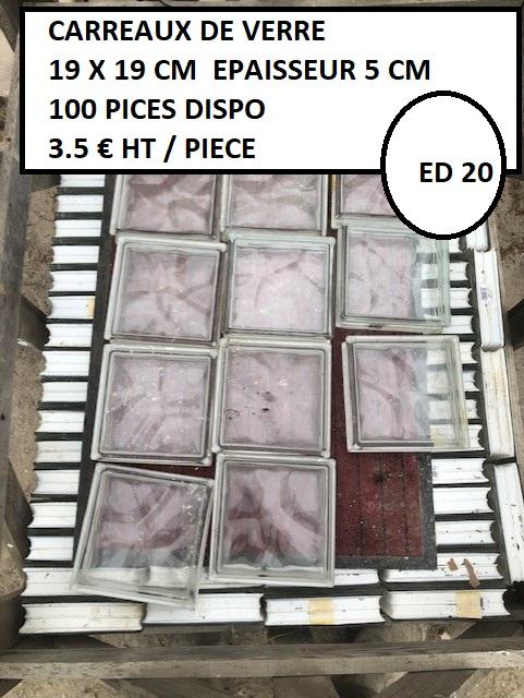 Carreaux de verre 19 x 19 cm