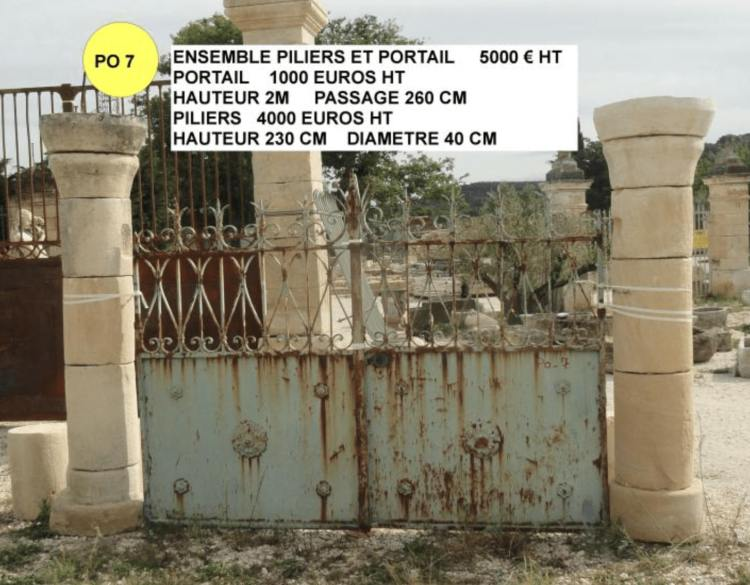 Piliers en pierre rond à vendre avec portail ancien en fer forgé 5000€ par Lemiere Matériaux