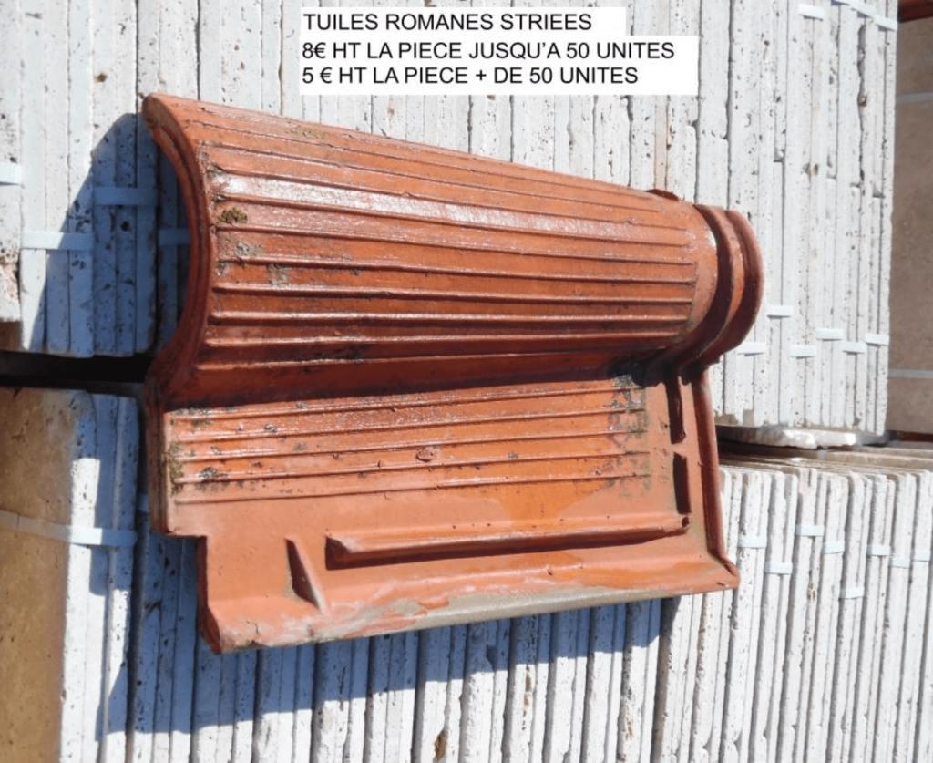 tuile romane striée ancienne à vendre par lemiere matériaux 84