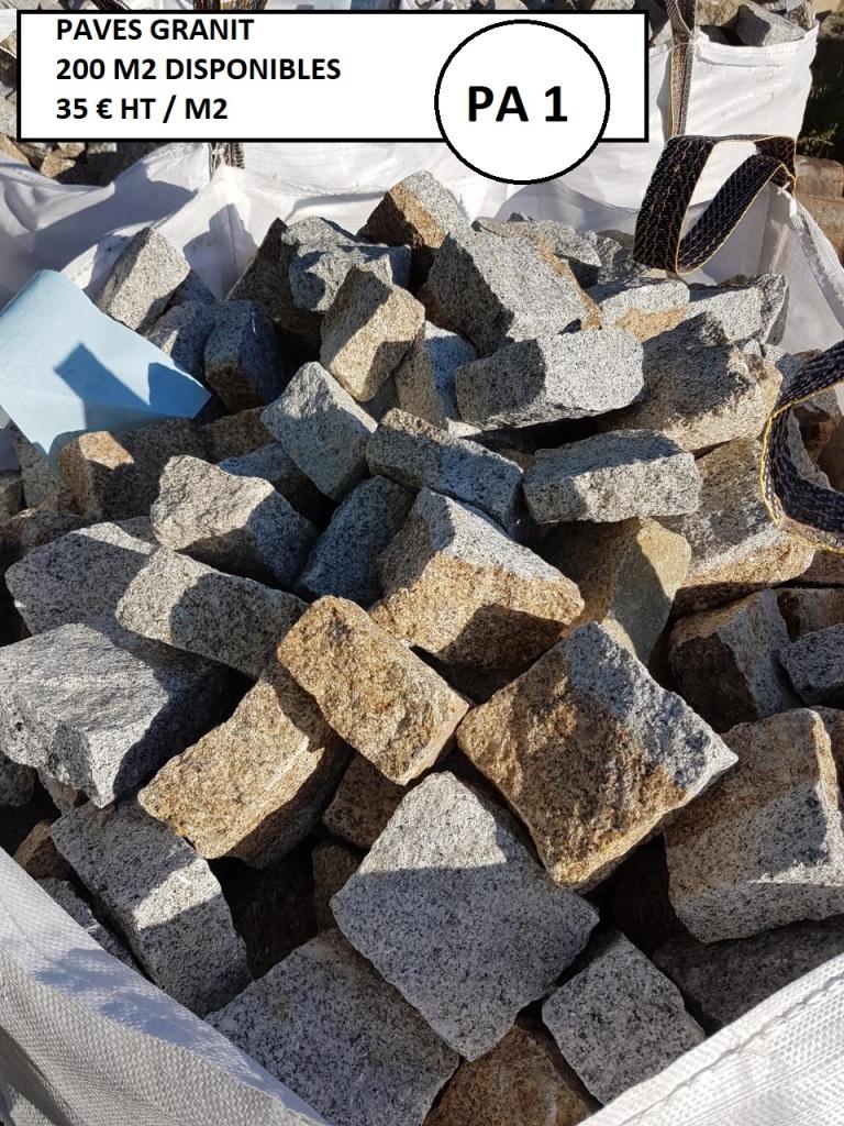 Paves de rue en granit, 200m2 disponibles